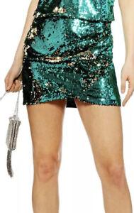 Topshop Green Sequin Drape Miniskirt UK 10