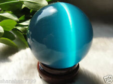Hot Sell ASIAN QUARTZ BLUE CAT EYE CRYSTAL BALL SPHERE 100MM + STAND