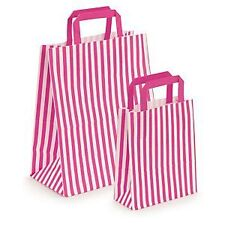 FLAT STRIPE Handle Coloured Paper Bags For Parties & Christmas Bags