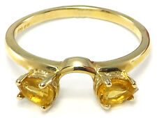 10k Yellow Gold Small Pear Citrine Ring Wrap Guard Enhancer MADE IN THE USA