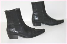 ACCESSOIRE DIFFUSION Bottines boots Pointues Tout Cuir Noir T 40 TBE