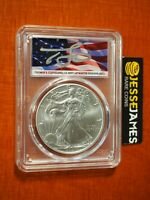 2021 SILVER EAGLE PCGS MS70 FLAG THOMAS CLEVELAND SIGNED FIRST STRIKE TYPE 1