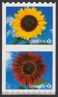 SUNFLOWERS = se-tenant pair from Coil Canada 2011 #2442a MNH-VF