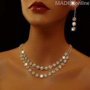 Set A, Silver Diamante Necklace Earring Set,  Sparkle Wedding Bling