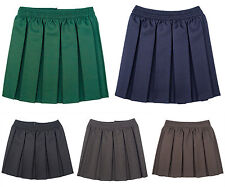 GIRLS BOX PLEAT ALL ROUND ELASTICATED SKIRT SCHOOL UNIFORM 2-16 YEARS