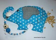 Schnullerkette mit Namen *Bärchen* + Kirschkernkissen *Elefant*