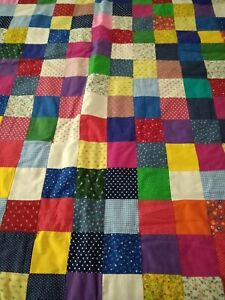 VINTAGE Patchwork Quilt HOME SEWN CALICO COTTON RED BORDERS PRIMARY COLORS