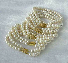 """Wholesale 5PC Natural White Akoya Cultured Pearl Bracelet 7.5"""" Hand Knotted"""
