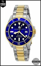 Henry Jay Mens 23K Gold Plated Two Tone Stainless Steel Specialty Aquamaster