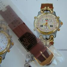 NEW MeN's TAG HeUeR 19mm BROWN NoTcHeD LEATHER STRAP For SEL~BN0459~GOLD BuCkLe