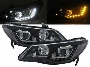 CSX 2005-2011 Sedan 4D LED Bar Projector Halogen Headlight Black for ACURA LHD