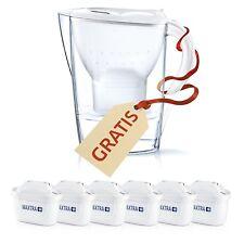 Brita Filtros Agua Maxtra, Pack 6 filtros + Jarra Marella, Blanca y Transparente