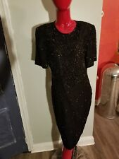 Vintage Lawrence Kazar Beaded Dress Black Silk  Deco Cocktail Party  Large