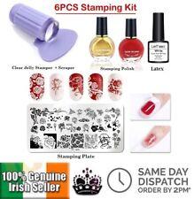 6PCS Nail Art Stamping Kit Stamping Plates + Stamper Scraper Nail Polish Latex