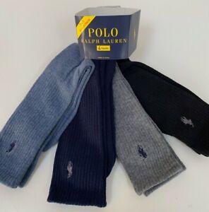 Polo Ralph Lauren Crew Socks 10-13 Blue Tones 4-pack