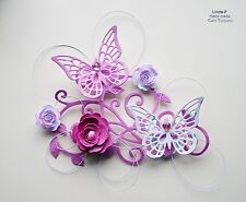 3D  FLOWER, BUTTERFLY AND WIRE CARD CRAFT TOPPER  GEN 12-1 Pink