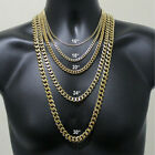 Stainless Steel Cuban Curb Chain Gold Tone 16-30 Mens Necklace 3/5/7/9/11mm