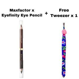 MAXFACTOR X EYEFINITY EYE PENCIL 02 BLACK CHARCOAL/BRUSHED COPPER & FREE TWEEZER
