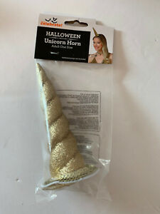 Way to Celebrate Adult One Size Gold Glitter Unicorn Horn Halloween Theatre NEW