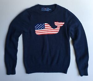 VINEYARD VINES Boys S (8-10) Navy Blue Whale Flag Intarsia Sweater