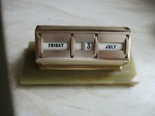New listingVintage Perpetual Gilt Metal Desk Calendar