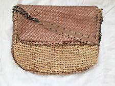Anthropologie Flora Bella Straw Scalloped Leather Trim And Flap Shoulder Bag