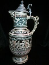 """Antique Beer Stein Pitcher 20 1/4"""" Tall Bearded Man Spout 3 Headed Dragon Handle"""