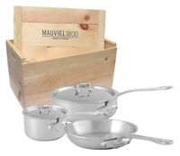 Mauviel M'Urban 5 Piece Stainless Steel Handle Cookware Set With Wooden Crate