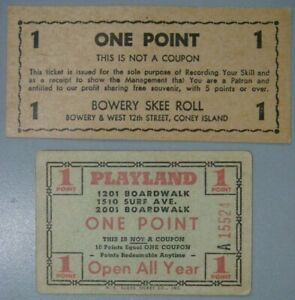 Coney Island Skee Ball tickets - Playland & Bowrey Skee Roll (FREE SHIPPING)