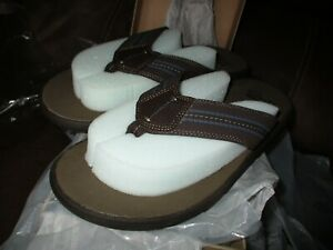 New Clarks Collection Beayer Walk Sandals Flip Flops Mens US Size 11 M Brown NIB