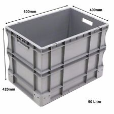 Very Strong Heavy Duty Type Stackable Plastic Euro Storage Boxes 16 Sizes 90 Litre