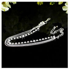 Women Silver Crystal Anklet Chain Bracelet Barefoot Sandal Beach Foot Ladies Yw