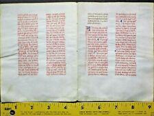 Deco.vellum manuscript bifolio,Breviary,written entirely in red ink,c.1460.