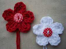 x4 Crochet Flowers RED & WHITE SPOT/DOT button SHABBY CHIC Christmas Decorations