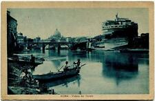 1929 Roma - Veduta del Tevere, barca - FP B/N VG ANIM