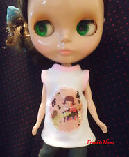 Blythe Doll Outfit Cloth Girl Or Animal Print White Tee
