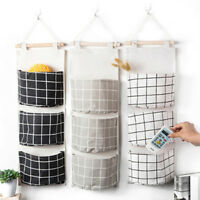 Popular Plaid 3 Pockets Wall Door Closet Hanging Storage Bag Organizer Pouch