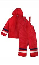 New Red Dungaree Salopette Jacket Snowsuit Ski Suit Hooded Padded 18-24 Months
