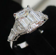 GIA 4.00 ct. Emerald w/ Trapezoid & Bullet Cut Diamond Engagement Ring J, VS2