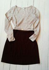 DIANE von FURSTENBERG DVF  Belted Two Tone silk ivory  and aubergine dress UK 8
