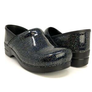 Dansko Professional Glitzy Clogs, Patent Leather Slip Resistant Work Shoe Sz 42
