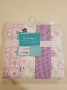Tiddliwinks Batik Butterfly 100% Cotton Fitted Crib Sheet NIP 4 PACK FLANNEL