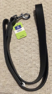 """Top Paw 1"""" x 4 ft Leather Leash for Dogs Black - NEW"""