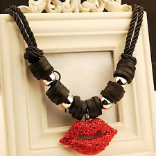 Lady Red lips Crystal Leather Chain Necklace Jewelry Statement Chunky