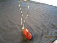 Vintage Brown Polished Stone Necklace Pendant & Chain