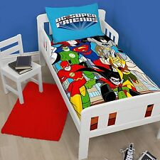 DC COMICS SUPER FRIENDS BATMAN SUPERMAN JUNIOR COT BED DUVET COVER SET TODDLER