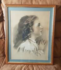 "Victorian 19th C Charcoal and Chalk, PORTRAIT OF GIRL ""Prayerful Thoughts"""