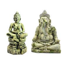 2× Aquarium Decorations Set Buddha + Ganesh Landscape Ornaments Fish Tank Decor