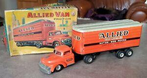 VINTAGE MAR FRICTION 1950s  STEEL ALLIED VAN LINES TRUCK TRAILER w BOX