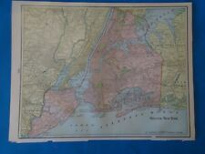 New listing Vintage 1902 Greater New York City Map ~ Old Antique Original Atlas Map 22019